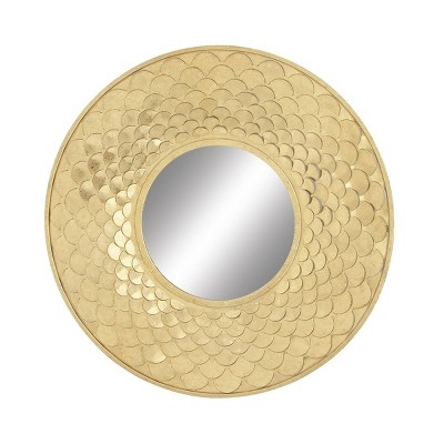 """32"""" Glam Iron Scale Frame Design Round Wall Mirror Gold - Olivia & May"""