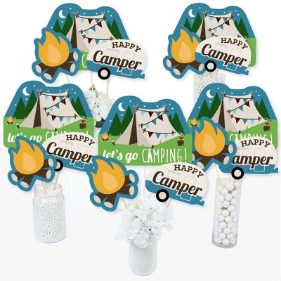 Big Dot of Happiness Happy Camper - Camping Baby Shower or Birthday Party Centerpiece Sticks - Table Toppers - Set of 15