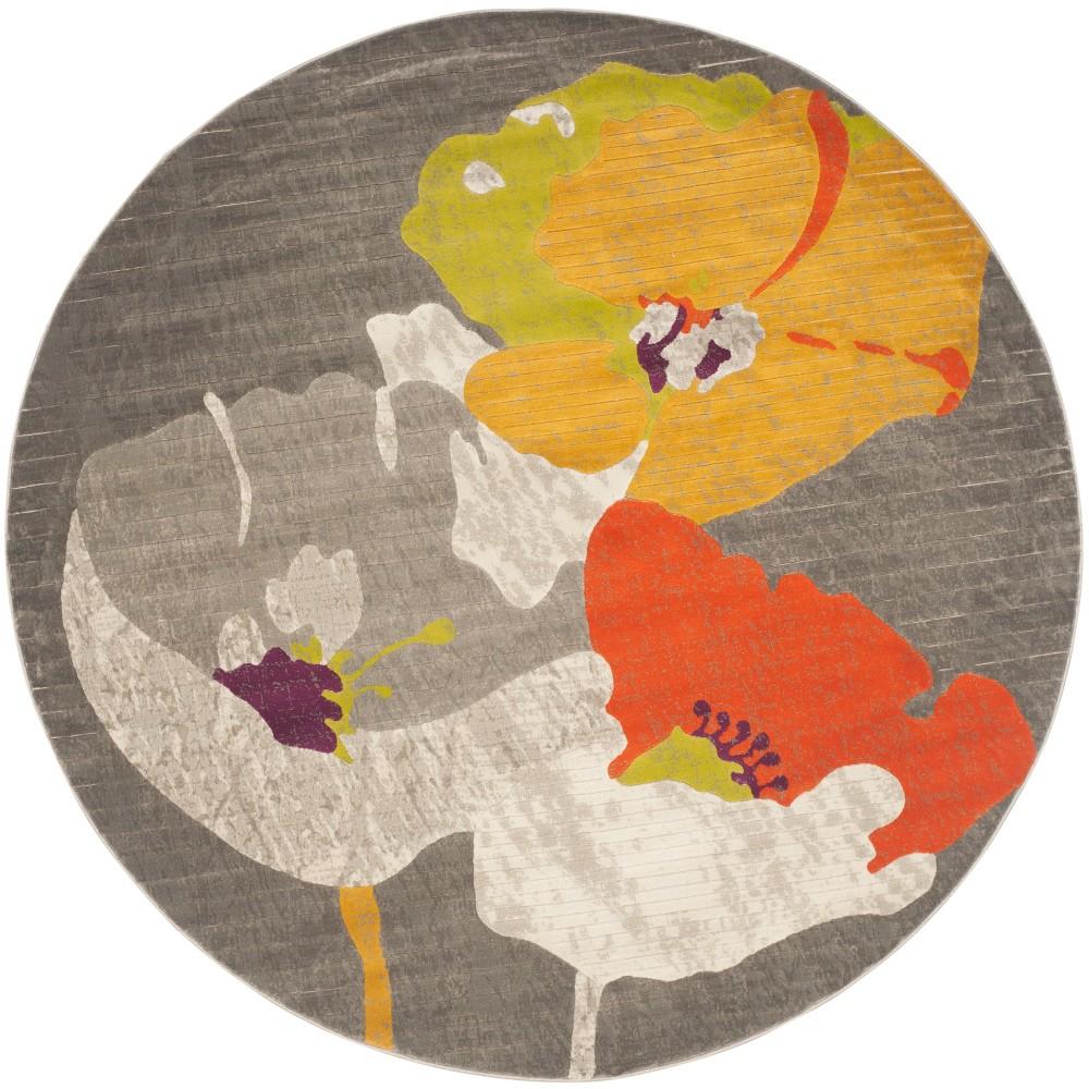 Dark Gray/Ivory Floral Loomed Round Area Rug 5' - Safavieh, White Gray