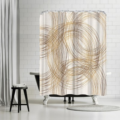 "Americanflat Metallic Circles by Modern Tropical 71"" x 74"" Shower Curtain"