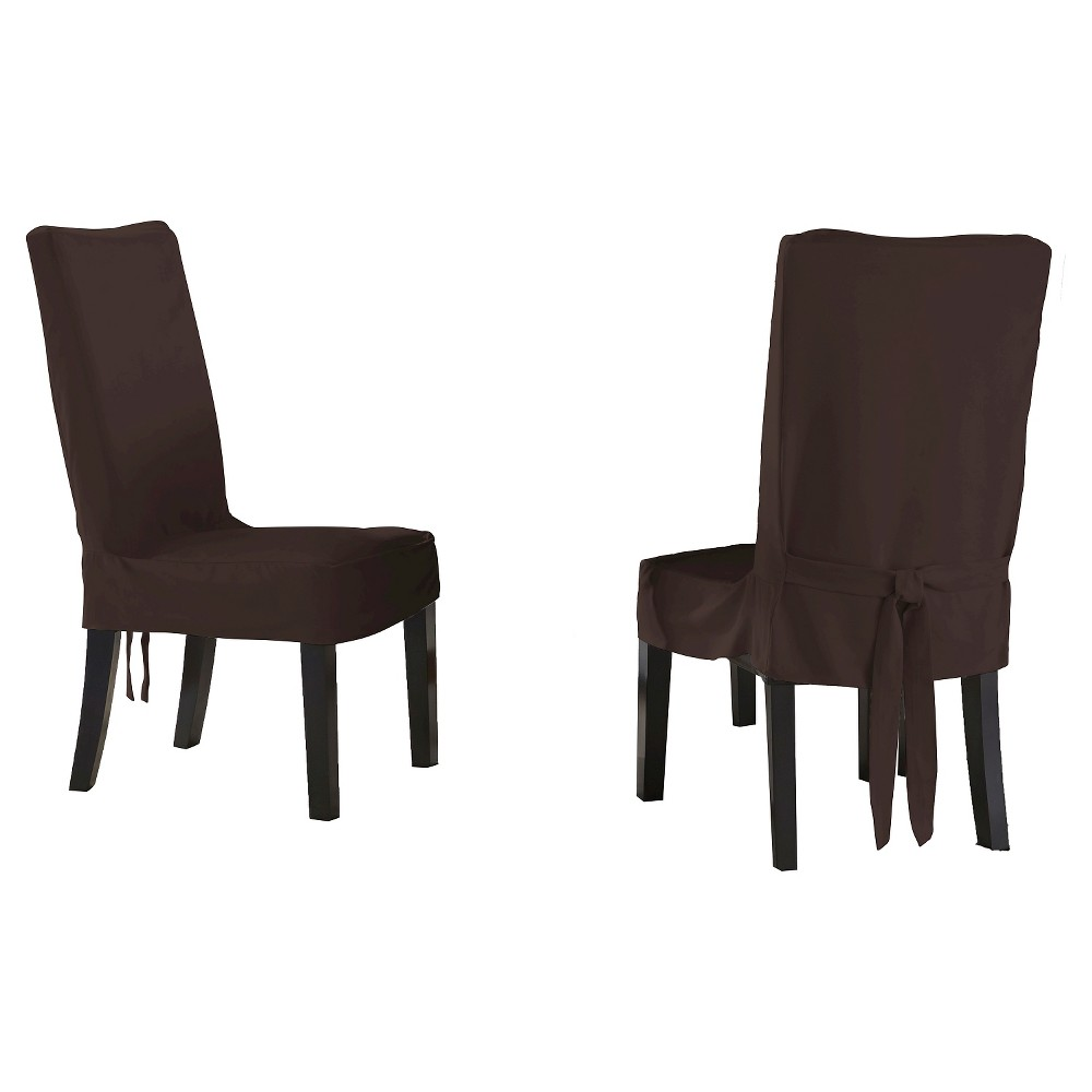 Image of 2pk Chocolate Relaxed Fit Smooth Suede Furniture Dining Chair Slipcover - Serta, Brown Short