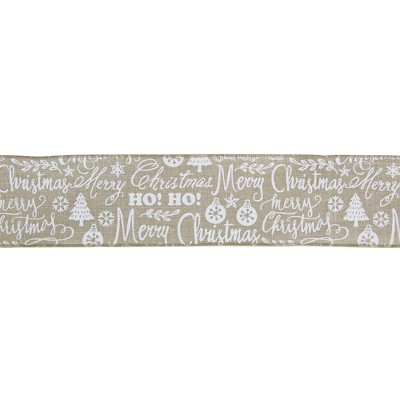 """Northlight Beige and White Merry Christmas Burlap Wired  Ribbon 2.5"""" x 16 Yards"""