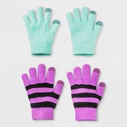 Girls' 2pk Solid Stripe Gloves - Cat & Jack™ One Size
