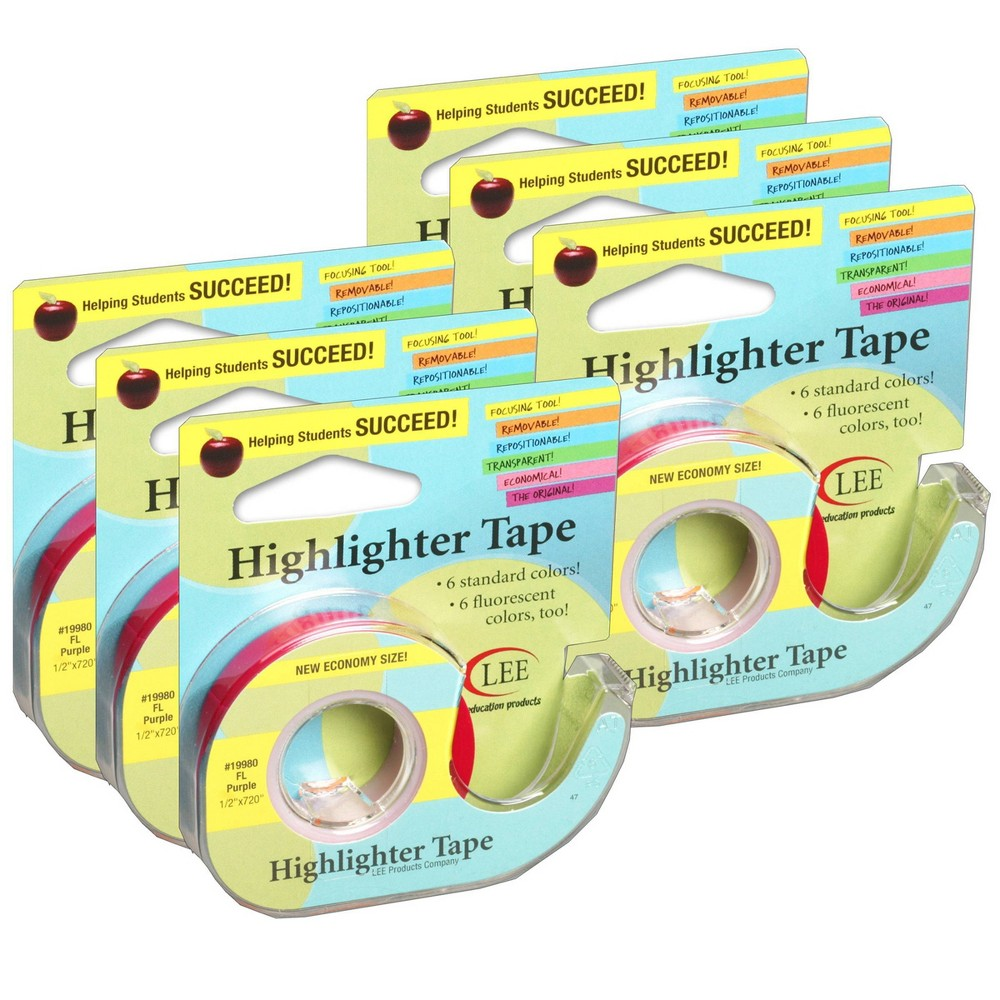 6pk Removable Highlighter Tape Fluorescent Purple Lee Products