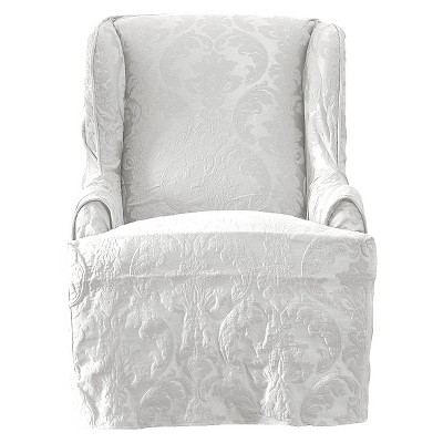 Matelasse Damask Wing Chair Slipcover White - Sure Fit