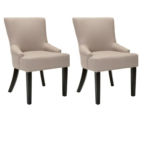 Lotus Linen Dining Chair Wood (Set of 2) - Safavieh® - image 1 of 5