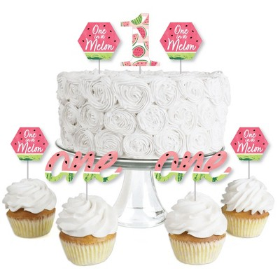 Big Dot of Happiness 1st Birthday One in a Melon - Dessert Cupcake Toppers - Fruit First Birthday Party Clear Treat Picks - Set of 24
