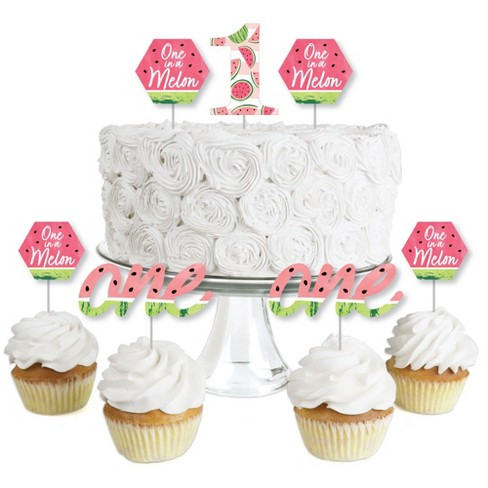 Big Dot of Happiness 1st Birthday One in a Melon - Dessert Cupcake Toppers - Fruit First Birthday Party Clear Treat Picks - Set of 24 - image 1 of 4