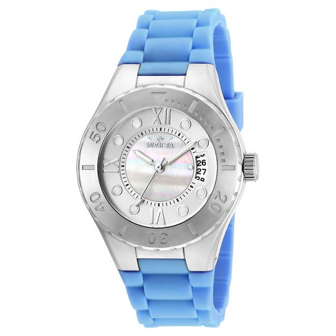 Women's Invicta 19392 Angel Quartz 3 Hand White Dial Link Watch - Blue - image 1 of 1