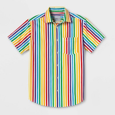 Pride Gender Inclusive Adult Striped Rainbow Button-Down Shirt