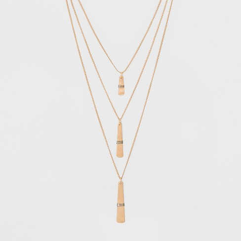 Multi Row Linear Bar and Wire Wrap Layered Necklace - Universal Thread™ Gold - image 1 of 3