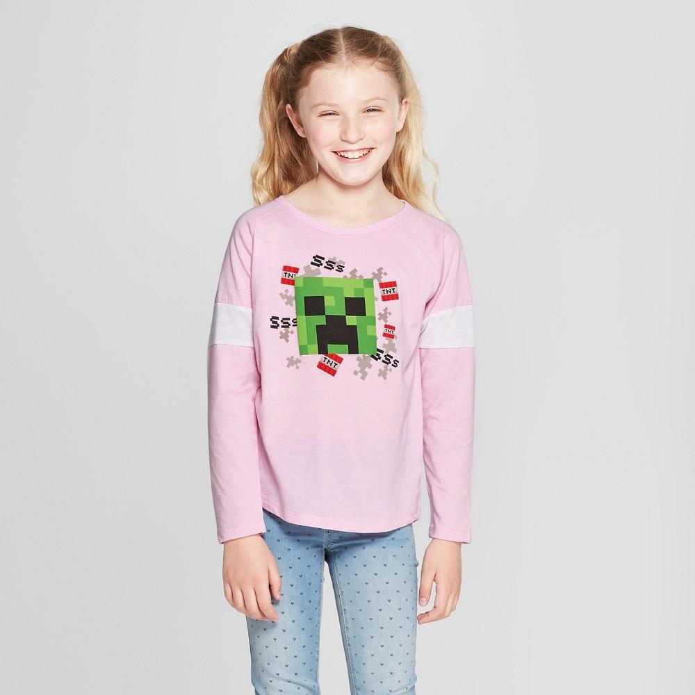 Plus Size Girls' Minecraft Graphic Long Sleeve T-Shirt - Pink Xxl Plus