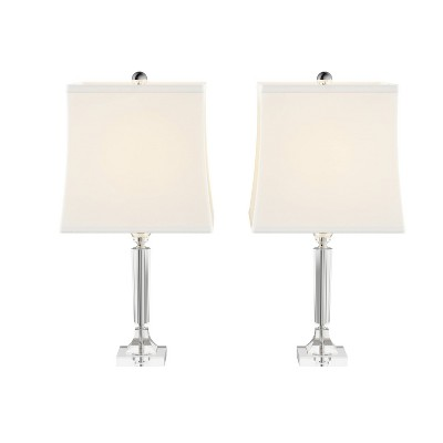 Crystal Candlestick Lamps with Square Shades-2 Set (Includes LED Light Bulb)