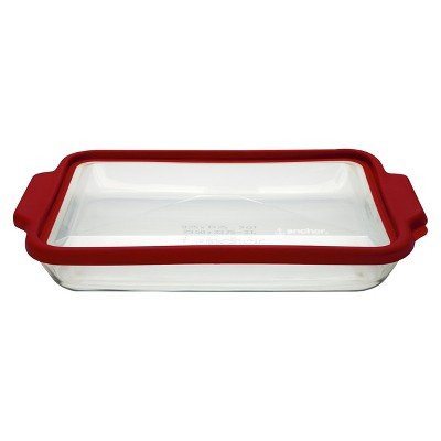 Anchor 3 Quart Oblong Glass Baking Pan with Lid - Clear/Red