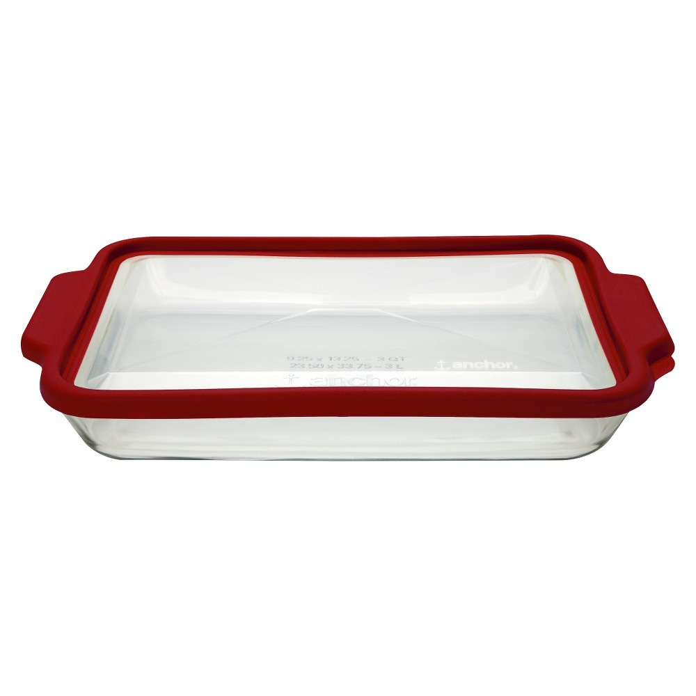 Image of Anchor 3 Quart Oblong Glass Baking Pan with Lid - Clear/Red
