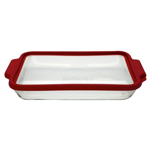 Anchor 3 Quart Oblong Glass Baking Pan With Lid Clear