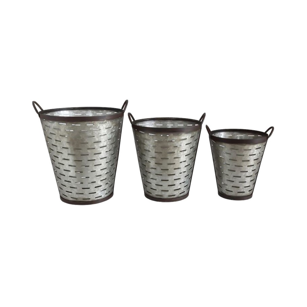 Image of Iron Olive Buckets with Handle - Set of 3 - 3R Studios, Olive Tree