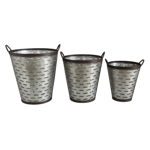 Iron Olive Buckets with Handle - Set of 3 - 3R Studios - image 1 of 1