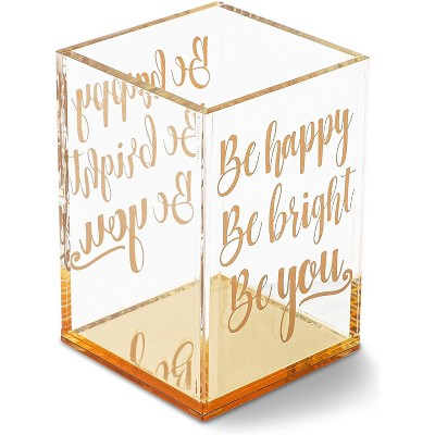 Paper Junkie Gold & Clear Acrylic Pencil Cup Pen Holder with Inspirational Quotes (2.95 x 4.45 In)