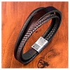 "Men's Steel Art Brown Braid and Layered Leather Bracelet with Stainless Steel Clasp (8.75"") - image 2 of 2"