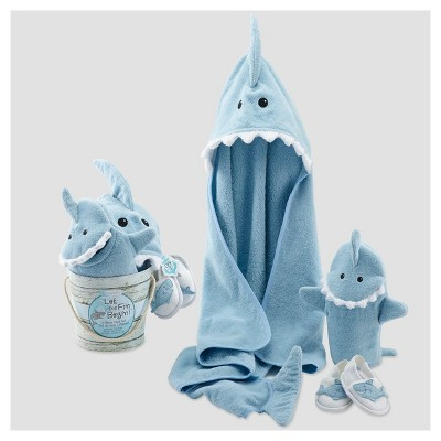 Baby Aspen Boys'  Let the Fin Begin  4pc Bath Gift Set - Blue 0-9M