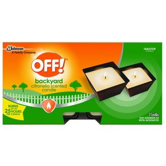OFF! 2ct 8oz Backyard Citronella Scented Candle