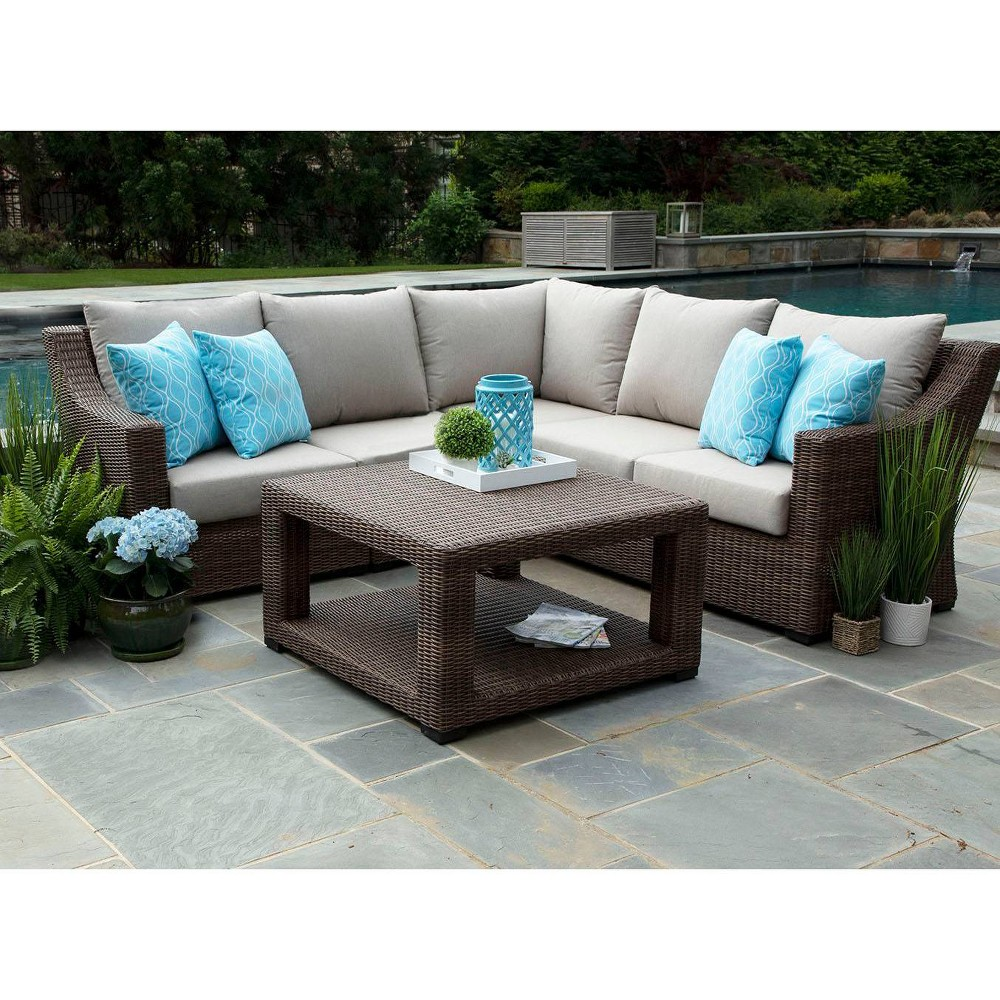 Image of Monteray 4pc Sectional with Sunbrella Fabric Brown - Canopy Home and Garden