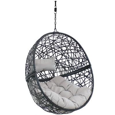 Jackson Hanging Egg Chair - Gray - Sunnydaze Decor