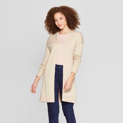 Women's Long Sleeve Back Belt Open Cardigan Sweater - A New Day™ Oatmeal S