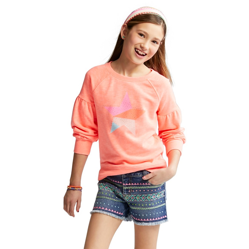 Girls' Star Leisure Pullover - Cat & Jack Coral L, Pink