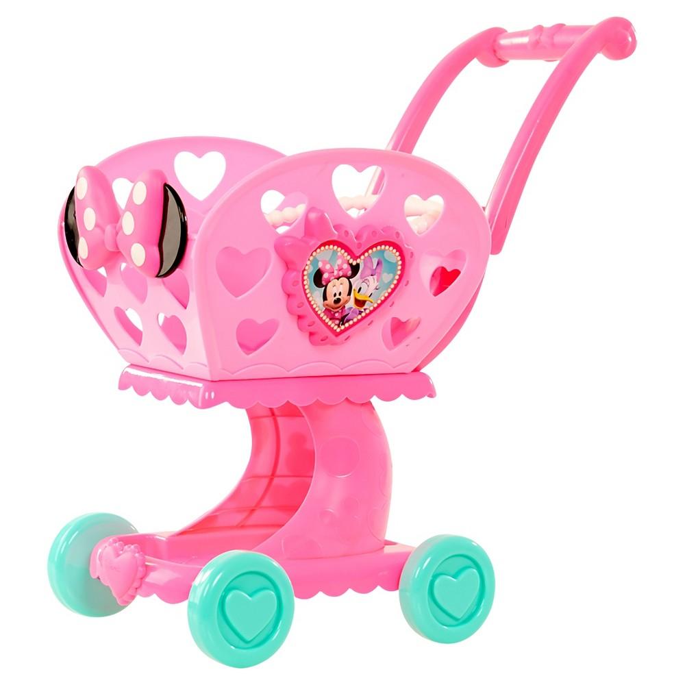 Minnie Bowtique Shopping Cart Kids love to help and the Disney Minnie's shopping cart lets your kids help shop for groceries. This cute Minnie Mouse shopping cart is available in pink and red. It has a handle that can be adjusted as your child grows. 4 wheels make it maneuver just like the real thing. Ages 2 and up. Gender: Unisex. Pattern: Solid.