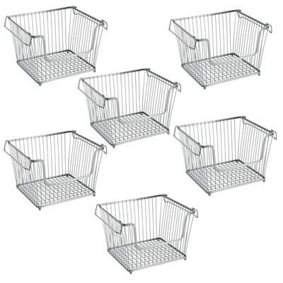mDesign Stackable Storage Basket with Handles, 6 Pack