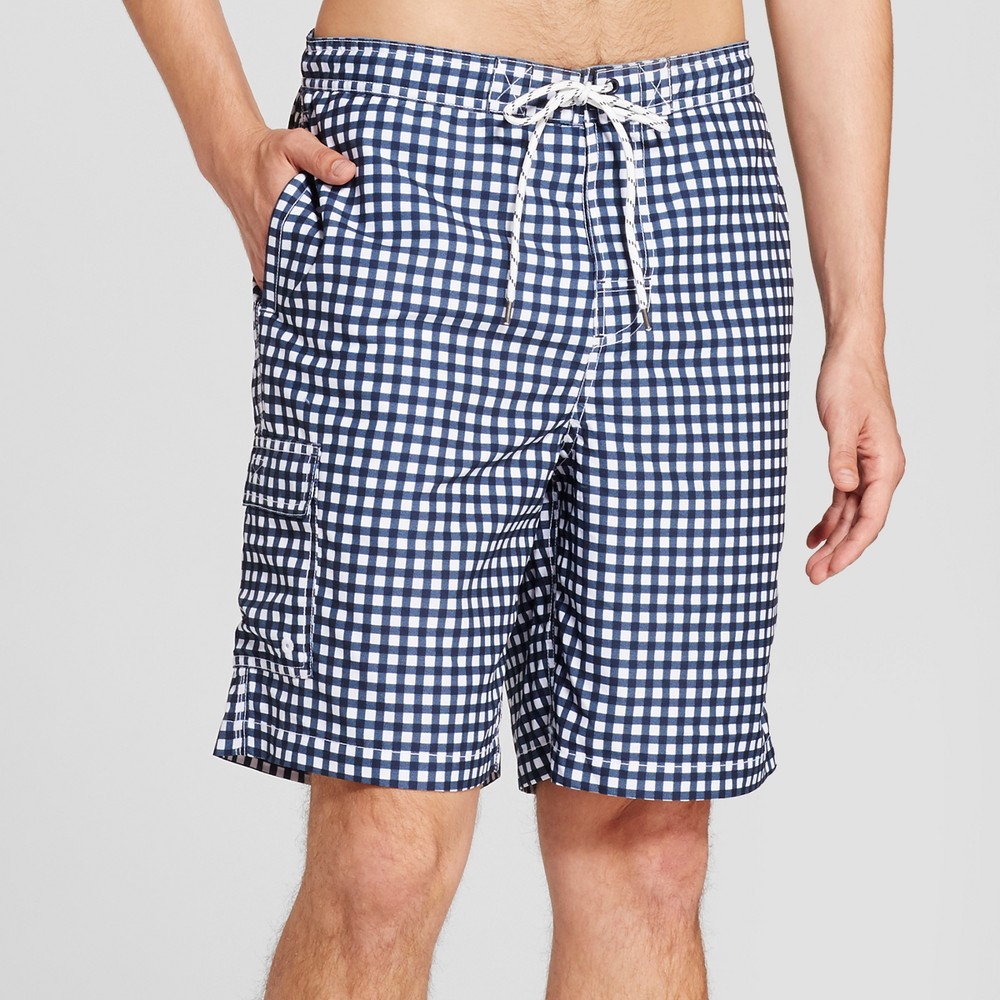 Men's 9 Board Shorts Gingham Print - Goodfellow & Co Navy S, Blue
