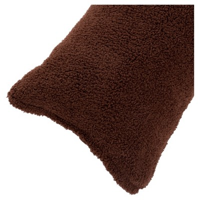 """Soft Sherpa Body Pillow Cover (52""""x18"""")Chocolate - Yorkshire Home"""