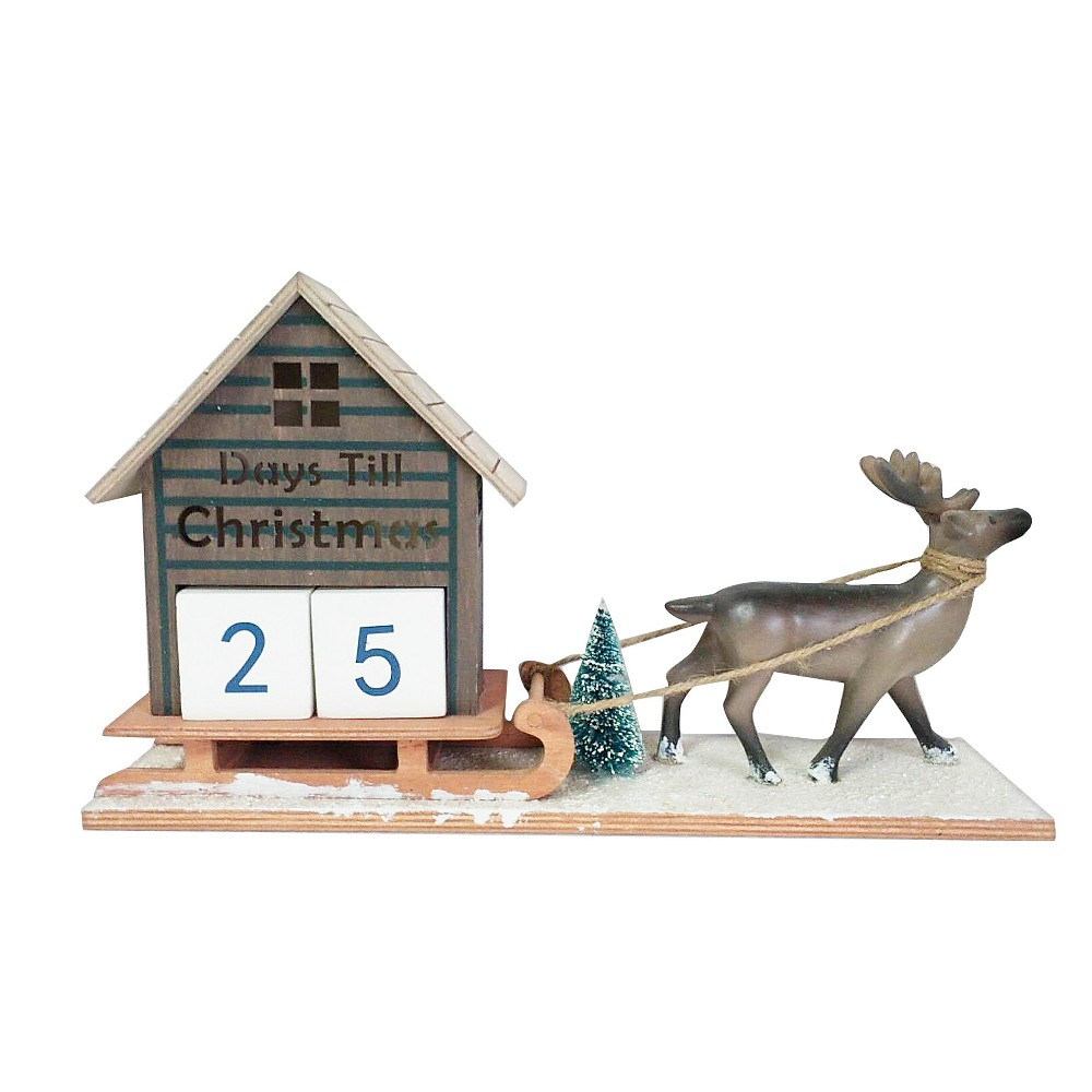 Image of Reindeer Pulling Sleigh Wood Advent Calendar Figurine - Wondershop