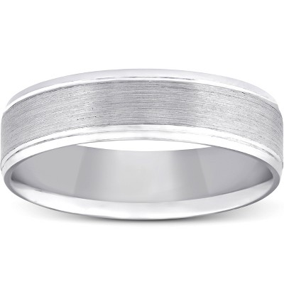 Pompeii3 5mm Flat Brushed Mens Wedding Band 10K White Gold