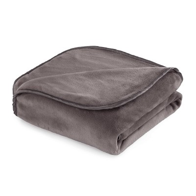 """54""""x72"""" 20lbs Plush Weighted Blanket Charcoal - Vellux"""