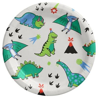 10ct Fossil Friends Dinosaur Disposable Dinner Plates - Spritz™