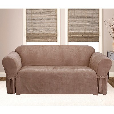 Soft Suede Sofa Slipcover Sable - Sure Fit
