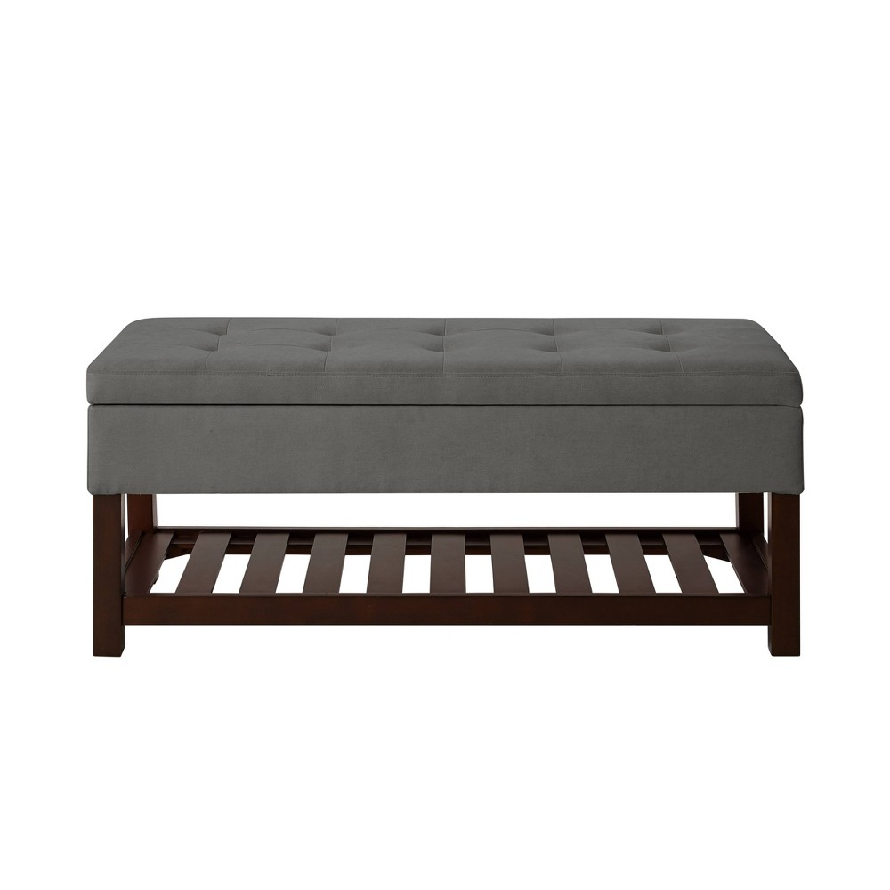 Image of Roxanne Storage Bench with Shelf Gray - Relax A Lounger
