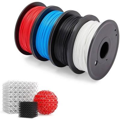 Stockroom Plus 4 Pack 1.75mm PLA Flexible 3D Printer Filament, Dimensional Accuracy +/- 0.02mm, 0.55lb Spool
