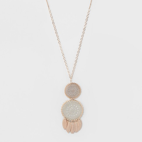 Filigree Discs & Thread Long Necklace - A New Day™ Silver/Peach - image 1 of 3
