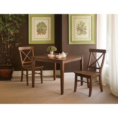 36  X 36  3pc Dining Table with 2 Side Chairs Set Espresso - International Concepts