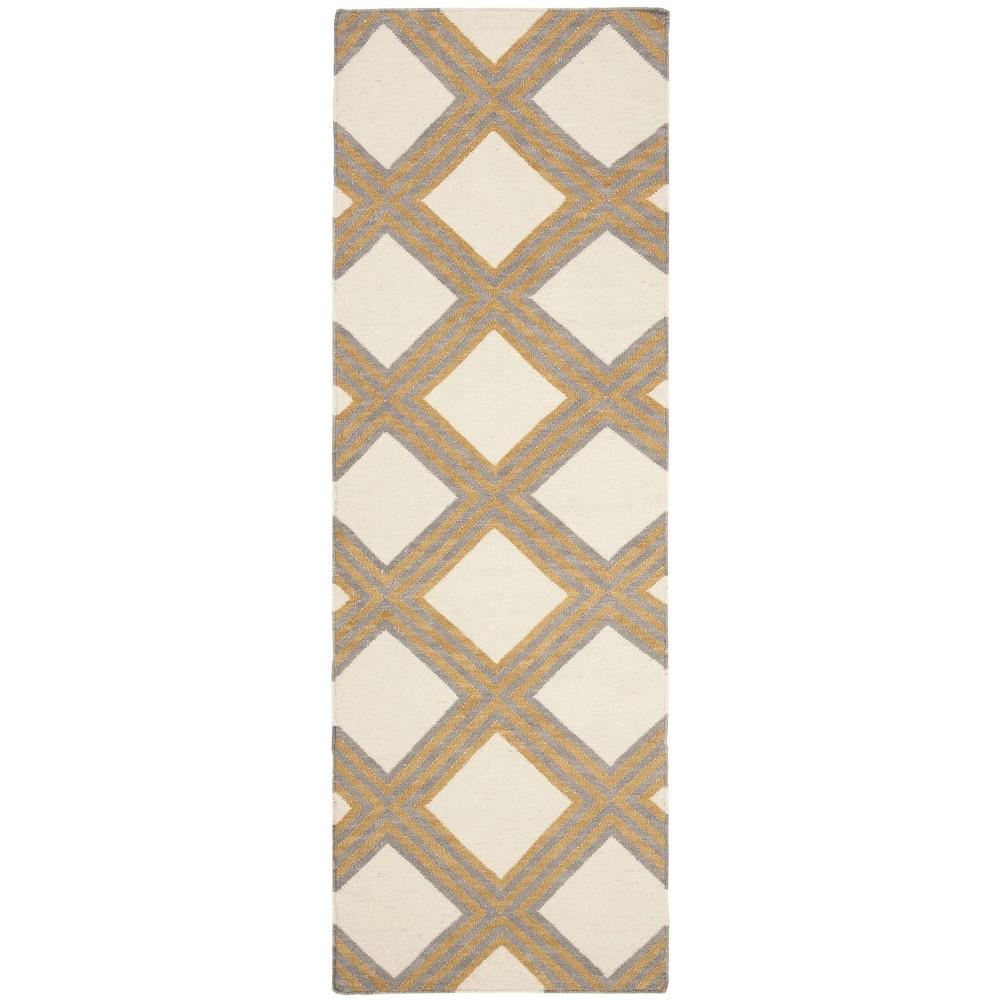 Dhurries Rug - Ivory/Gold - (2'6x8') - Safavieh, White