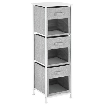 mDesign Vertical Furniture Storage Tower with 3 Fabric Drawer Bins