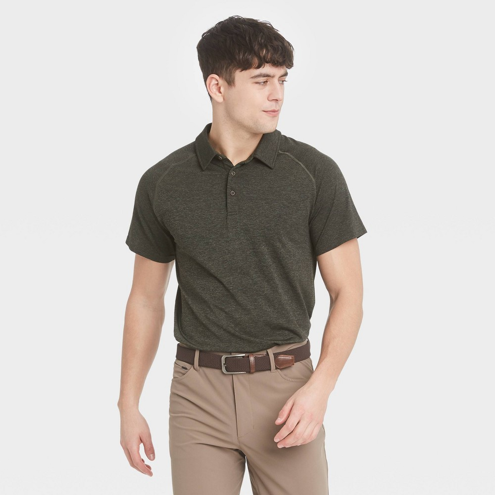 Men 39 S Seamless Polo Shirt All In Motion 8482 Olive Heather M