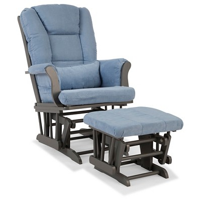 Stork Craft Tuscany Gray Glider and Ottoman - Blue