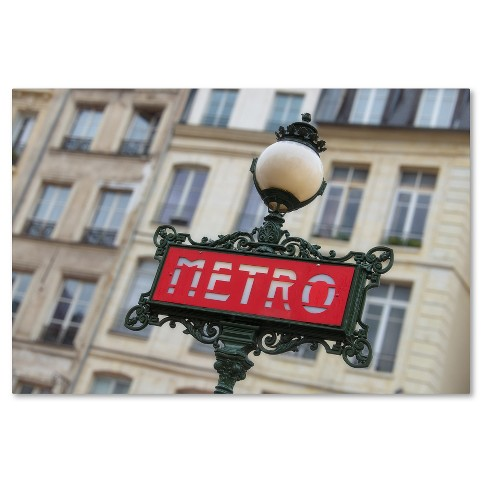 Paris Metro Signpost' by Cora Niele Ready to Hang Canvas Wall Art - image 1 of 3