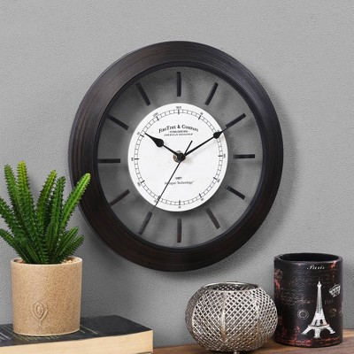 "11"" Foundry Bronze Wall Clock Dark Brown - FirsTime"