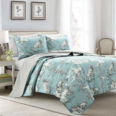 French Country Toile Cotton Reversible Quilt - Lush Décor